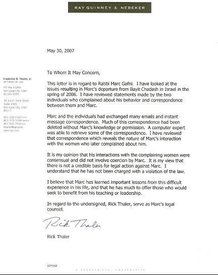 Rick Thaler Letter